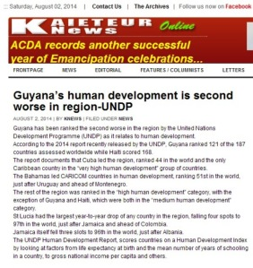 Guyana's human development is second worse in region-UNDP