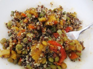 pigeon peas and dasheen curry with quinoa