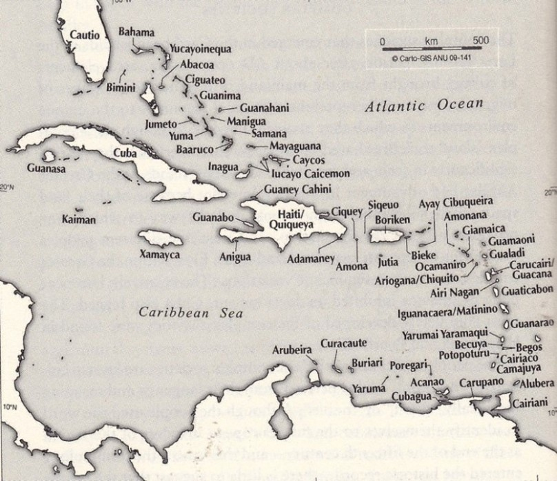 The Taino names  of the Caribbean islands based on Jalil Sued-Badillo (ed.), 'General History of the Caribbean, vol. 1: Autochthonous Societies' (Paris: UNESCO Publishing/London: Macmillan 2003) Plate 8.